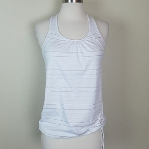 Athleta white striped exercise racer back top XS